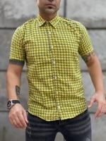 پیراهن آستین کوتاه زرد طوسی