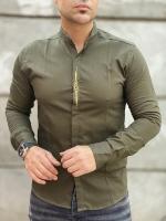 پیراهن آستین بلند فشن زیتونی