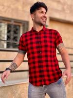 پیراهن آستین کوتاه چهارخونه قرمز مشکی