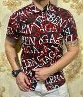 پیراهن آستین کوتاه هاوایی حروف انگلیسی مشکی قرمز