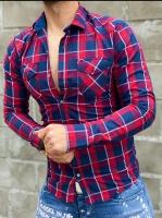 پیراهن مردانه آستین بلند اسپرت چهارخونه رنگ قرمز سرمه ای