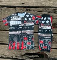 ست تیشرت و شلوارک نیویورک مشکی قرمز