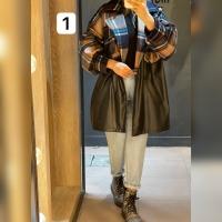 پالتو ترکیبی چهارخونه پشمی و چرم