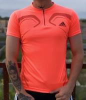 تیشرت ورزشی آستین کوتاه Adidas زیپدار مرجانی