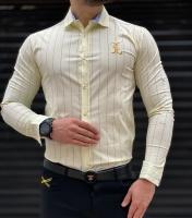 پیراهن مردانه اسپرت طرح BE لیمویی
