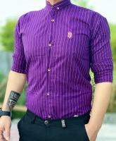 پیراهن اسپرت طرح LC رنگ بنفش راه راه