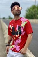 تیشرت آستین کوتاه طرح SOWS آبرنگی رنگبندی