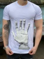 تیشرت آستین کوتاه مدل دست رنگ سفید