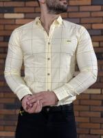 پیراهن آستین بلند اسپرت چهارخونه GF لیمویی