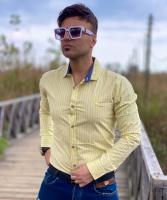 پیراهن آستین بلند راه راه اسپرت CK لیمویی