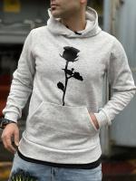 هودی توکرک طرح گل پشت چاپ رنگ ملانژ