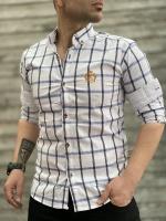 پیراهن آستین بلند LC سفید چهارخونه