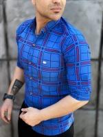 پیراهن آستین بلند چهارخونه آبی خط قرمز کد 126