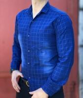 پیراهن آستین بلند چهارخونه آبی طرح سنگشور