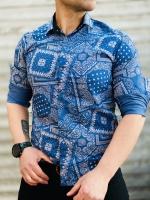 پیراهن آستین بلند طرح سنتی آبی