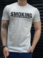 تیشرت آستین کوتاه SMOKING طوسی روشن