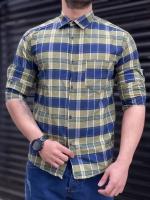 پیراهن چهارخونه قواره دار زیتونی آبی