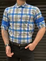 پیراهن اسپرت قواره دار چهارخونه آبی سبز سفید
