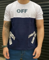 تیشرت آستین کوتاه سایز بزرگ طرح OFF رنگ سرمه ای