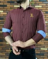 پیراهن مردانه اسپرت طرح BE زرشکی