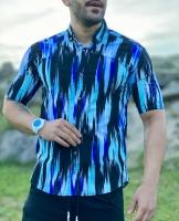 پیراهن آستین کوتاه آبرنگی آبی سرمه ای مشکی