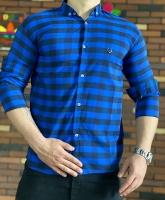 پیراهن چهارخونه آبی سرمه ای طوسی