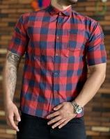 پیراهن آستین کوتاه قواره دار چهارخونه سرمه ای قرمز