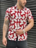 پیراهن هاوایی قرمز گل سفید