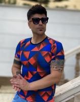 تیشرت آستین کوتاه لوزی نارنجی آبی
