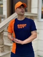 تیشرت آستین کوتاه Drop Out سرمه ای نارنجی
