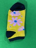 جوراب نیم ساق گل دار زرد مشکی