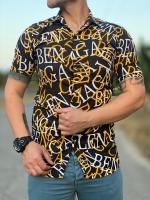 پیراهن آستین کوتاه هاوایی حروف انگلیسی مشکی زرد