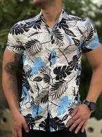 پیراهن هاوایی رنگ سفید گل آبی روشن