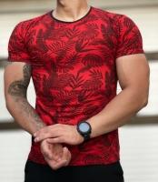 تیشرت آستین کوتاه طرح هاوایی مدل برگ رنگ قرمز