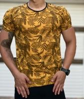 تیشرت آستین کوتاه طرح هاوایی مدل برگ رنگ زرد
