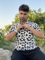 پیراهن هاوایی مدل قلب سفید مشکی