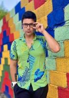 پیراهن هاوایی مدل پر رنگ سبز